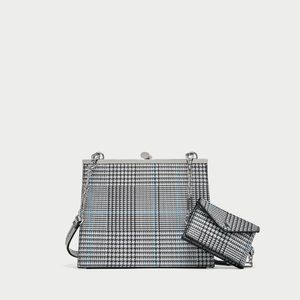 NWT Checked Crossbody Bag with Metal Clasp